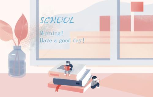 清新开学季插画明信片