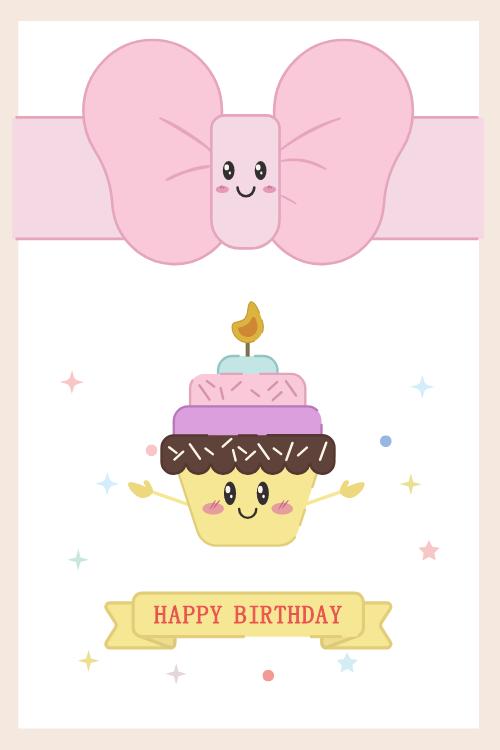可愛少女生日賀卡