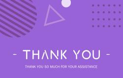 紫色感谢明信片