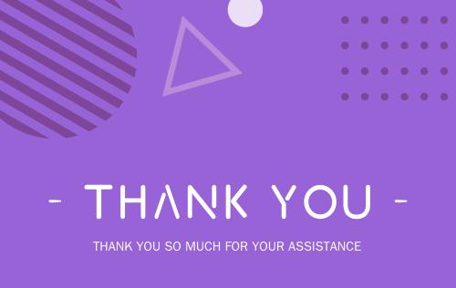 紫色感謝明信片