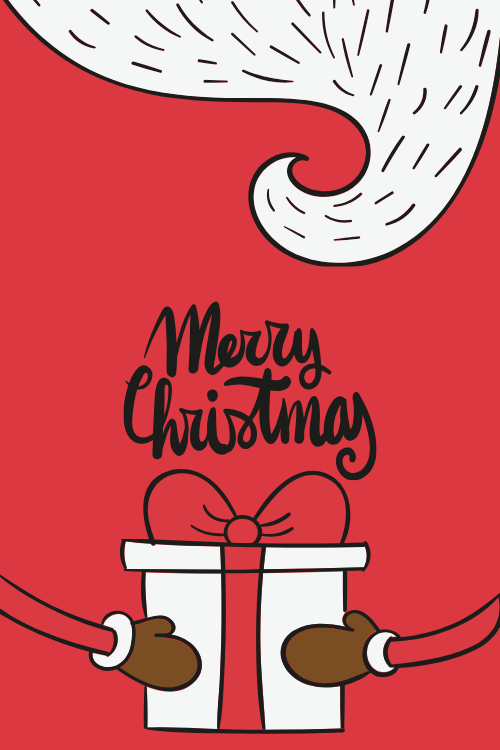 紅色卡通圣誕賀卡