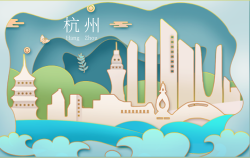 剪纸风中国杭州明信片
