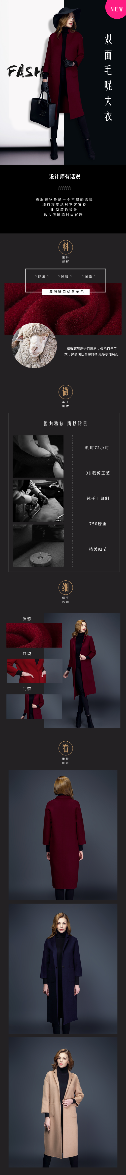 $電商淘寶服裝大衣產品展示詳情頁