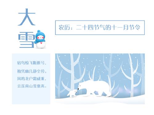 洁白清冷的大雪节气公众号横图