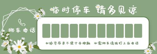绿色小清新花朵停车卡
