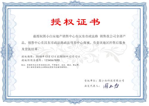 大气通用授权证书模板