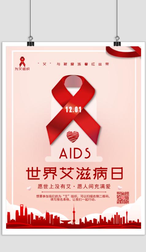 红色简约世界艾滋病日宣传海报