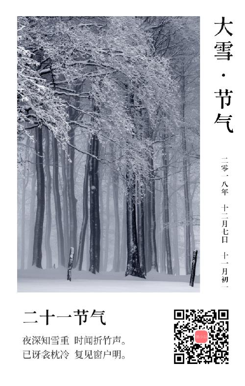 简约卡片大雪节气手机海报
