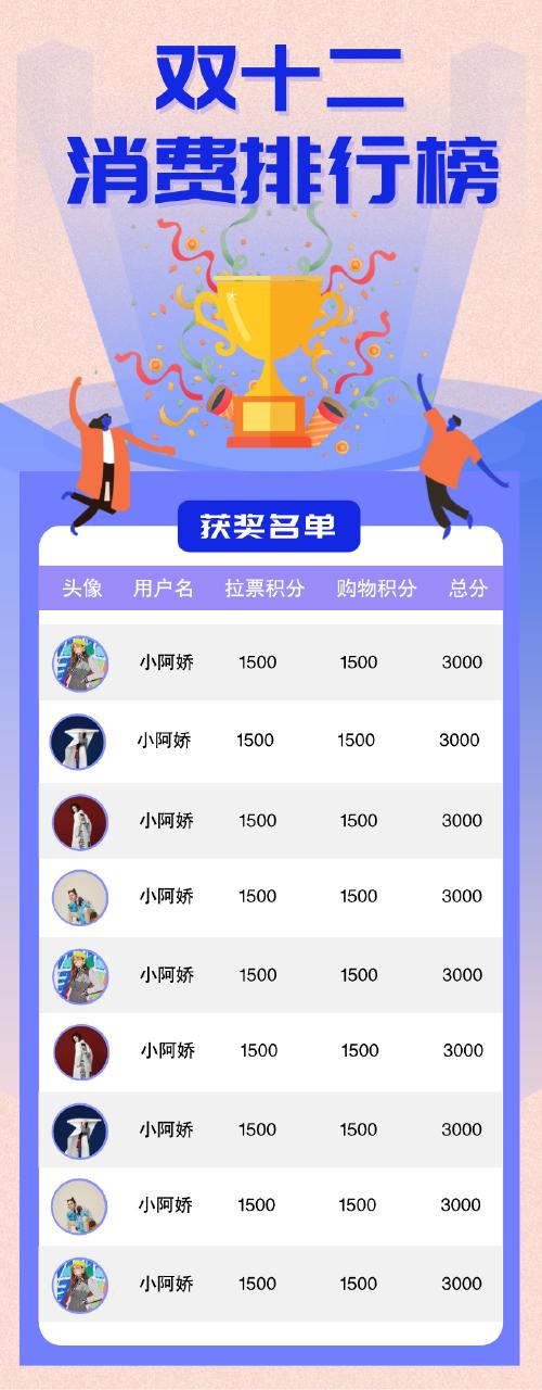 簡約插畫雙十二消費排行榜長圖