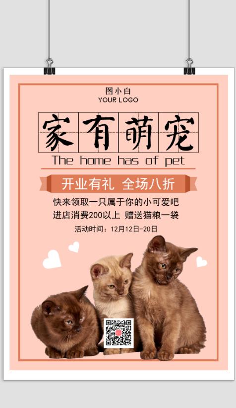 可爱猫咪宠物店促销宣传海报