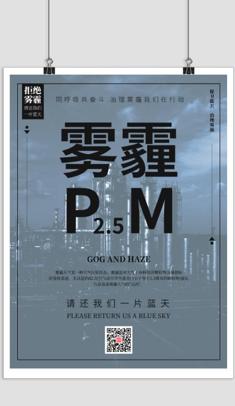 拒绝雾霾保护环境公益海报