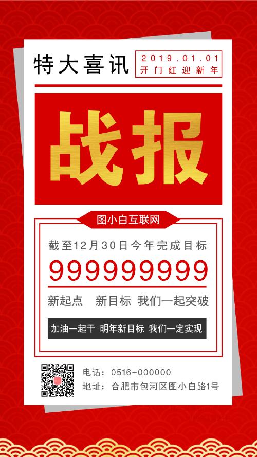 中国风红色战报喜讯手机海报