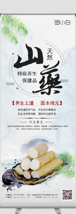 中国风中医山药药材易拉宝