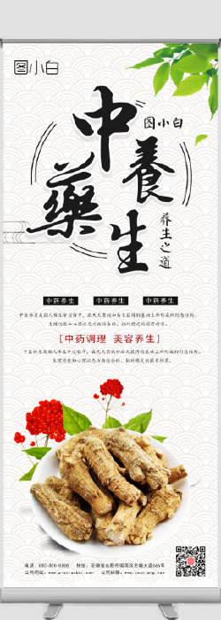 中国风中药养生易拉宝