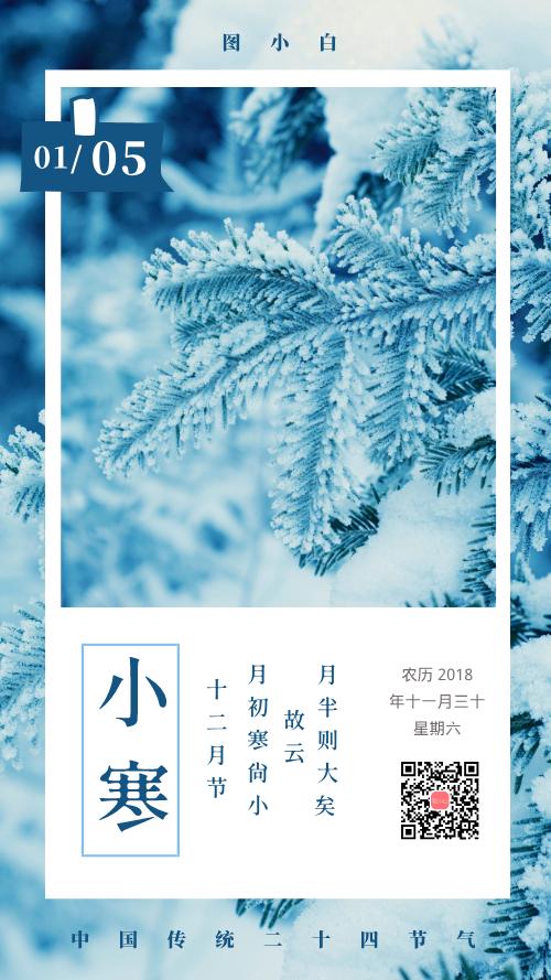 中国传统二十四节气小寒手机海报