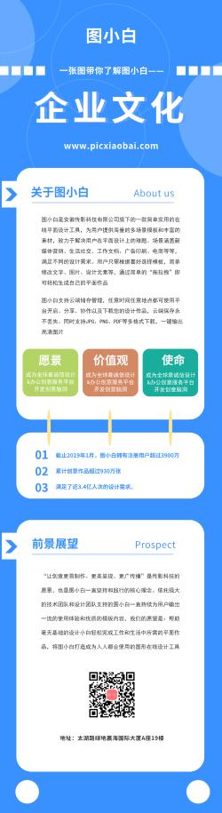 简约蓝色企业文化营销长图
