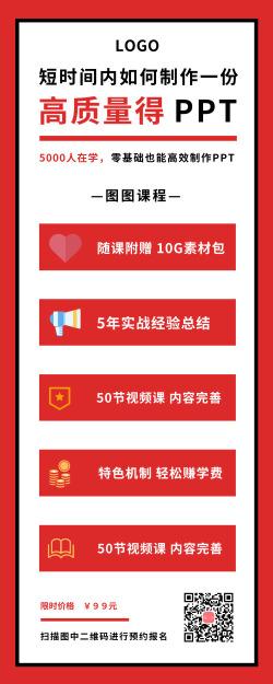 红色高效制作PPT营销长图