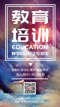 简约教育培训招生宣传手机海报