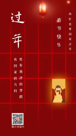 春节回家团圆过年祝福手机海报