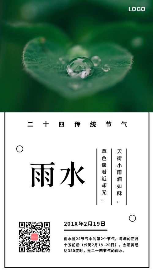 雨水传统节气手机海报