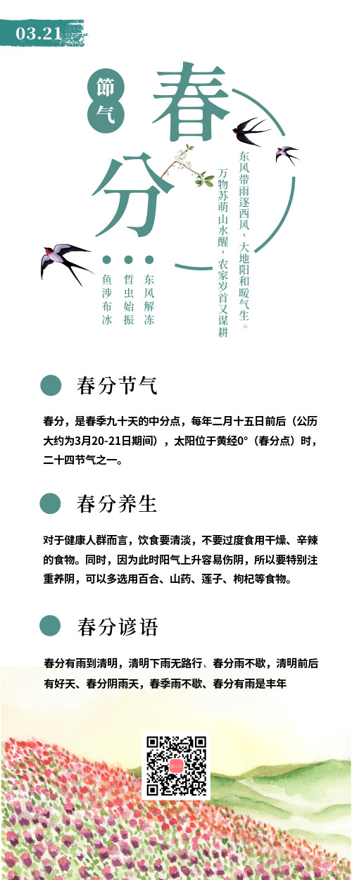 简约春分传统节气营销长图