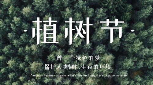简约植树节宣传横版海报