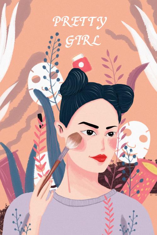 化妝的女孩豎版插畫