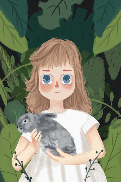 抱着兔子的小女孩竖版插画