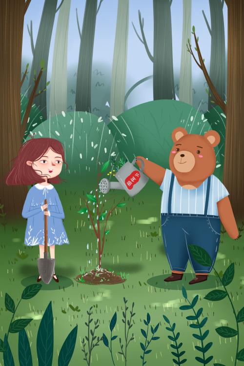 小清新植树节女孩动物栽树竖版插画