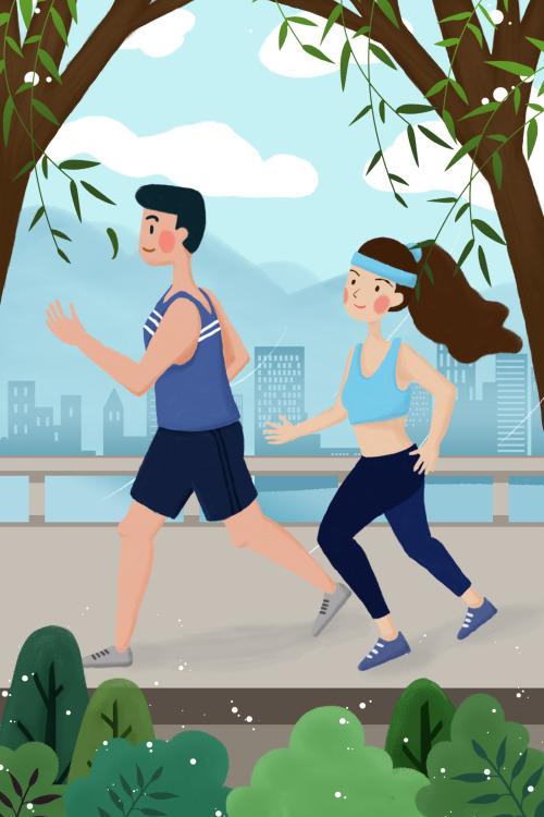 春季跑步健身男女竖版插画