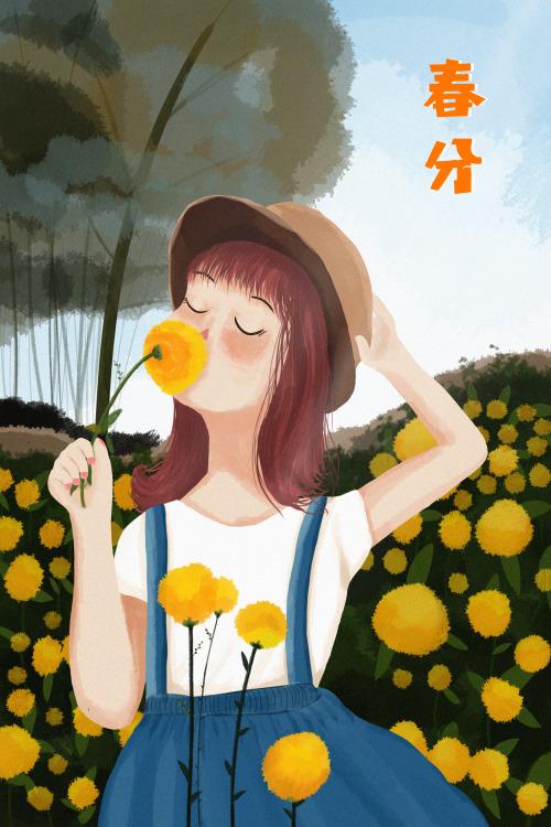 春分小女孩豎版插畫