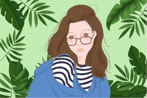 小清新眼鏡女孩橫版插畫
