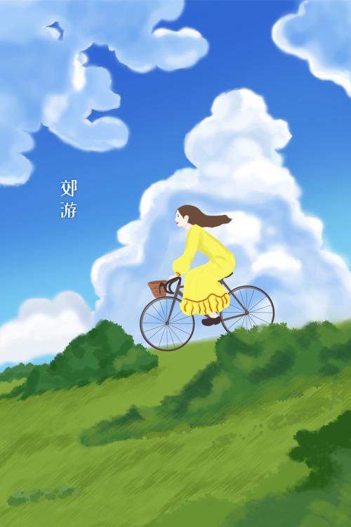 春日郊游自行車的女孩豎版插畫