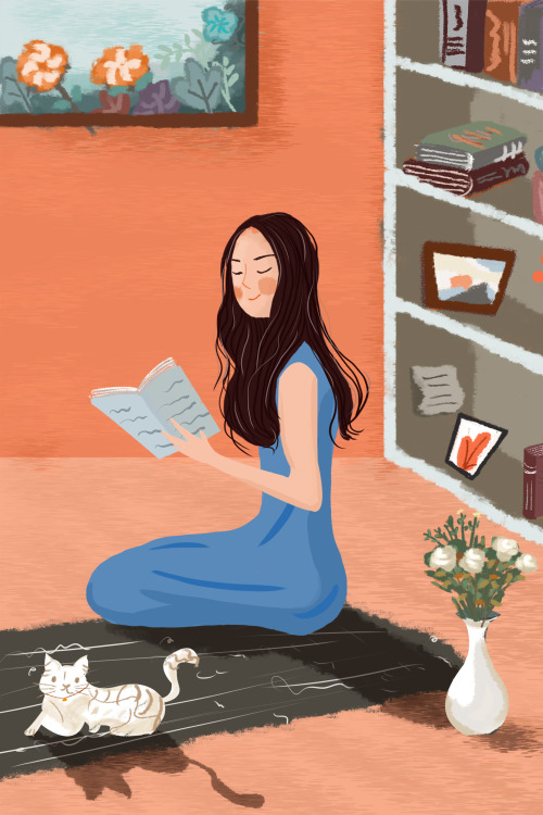 文藝休閑時光讀書的女孩豎版插畫