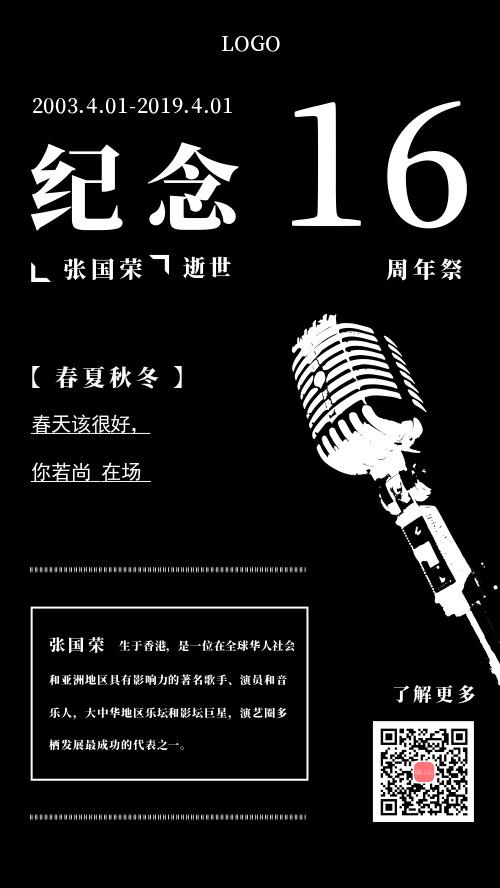 纪念张国荣逝世手机海报