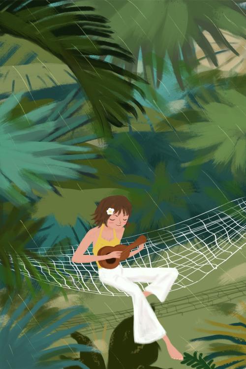 森林里彈吉他的女孩豎版插畫