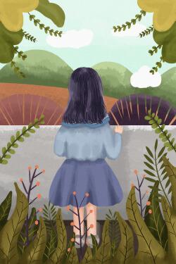 小女孩看风景竖版插画