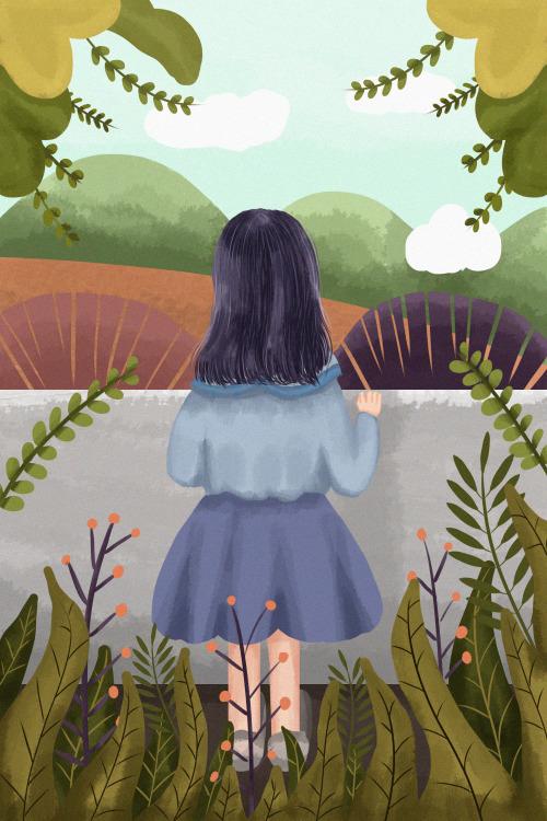 小女孩看風景豎版插畫