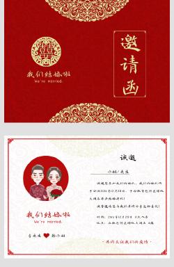 红色喜庆中式婚礼邀请函
