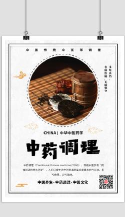简约中医药学护理海报