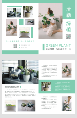 小清新居家绿色植物盆栽宣传折页