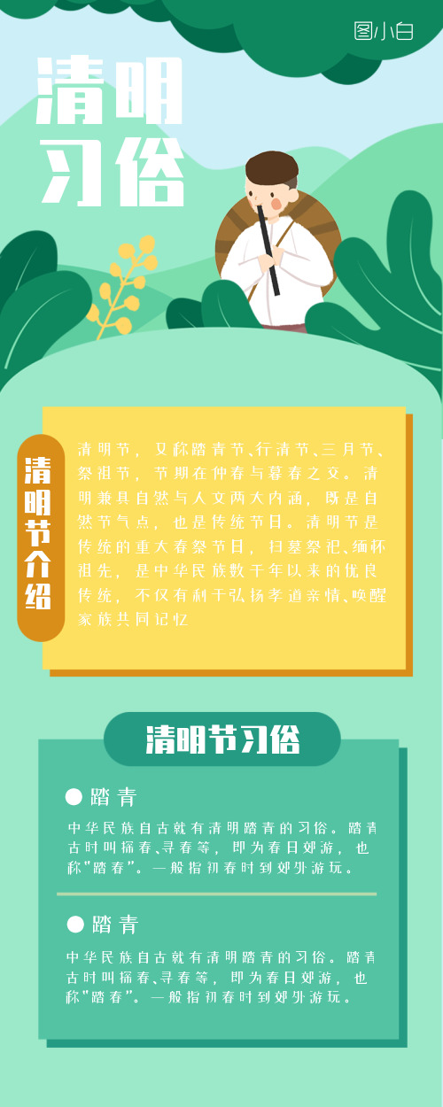 清明节习俗营销长图