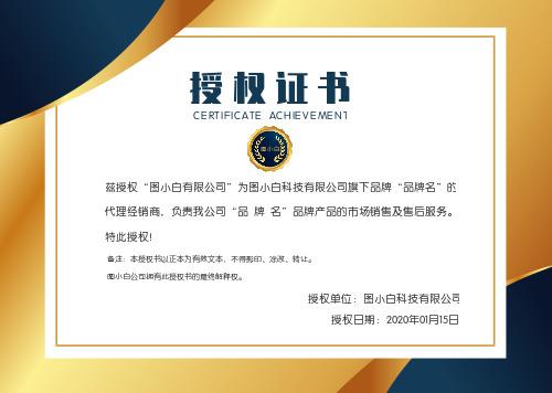 金色商务大气授权证书模版