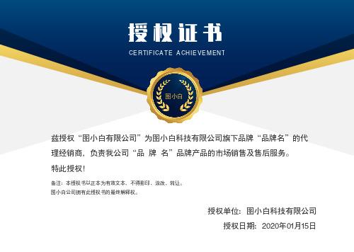 蓝色商务大气授权证书模版
