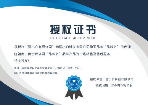 蓝色商务大气企业通用授权证书