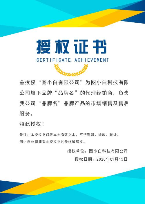 蓝色几何商务企业通用授权证书