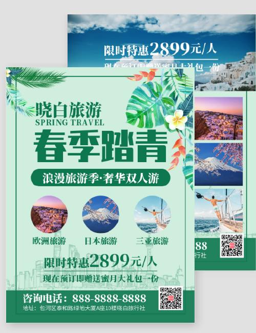 简约清新春季旅游踏青促销DM宣传单