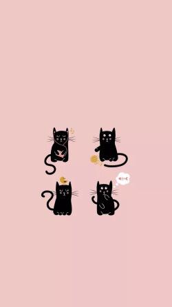 简约猫咪手机锁屏壁纸