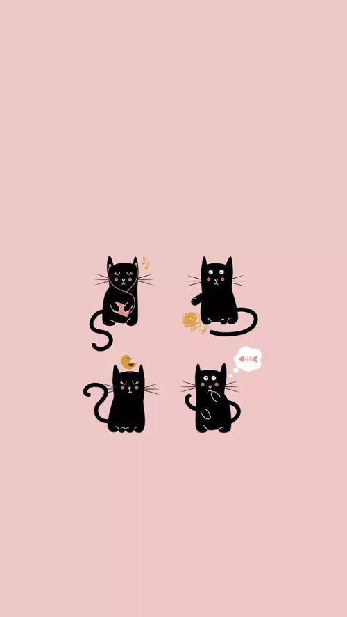 簡約貓咪手機鎖屏壁紙