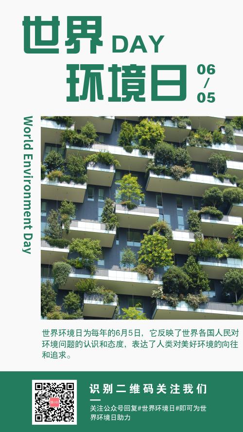 简约世界环境日宣传手机海报
